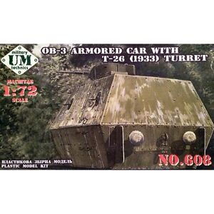 Unimodel 608 Armoured Railroad Car with T26 Turret 1/72 scale plastic model kit