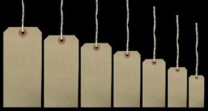 Brown Buff Strung Tags Reinforced Luggage Labels Tie On Merchandise Labels