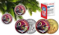 WASHINGTON REDSKINS Christmas Tree Ornaments JFK Half Dollar US 2-Coin Set NFL