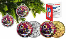WASHINGTON REDSKINS Christmas Tree Ornaments JFK Half Dollar US 2-Coin Set NFL