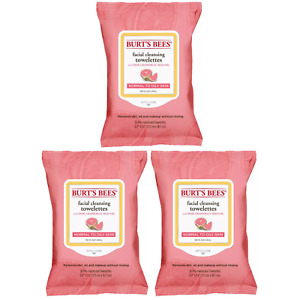 (3) Packs Burt's Bees Facial Cleansing Towelettes Wipes Pink Grapefruit - 30 Ct