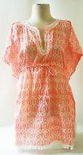 STELLA & DOT Capri Tunic CORAL WOODBLOCK Peach Blouse Shirt Cover Up Draw String