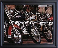 Harley Davidson Motorcycles In Row Wall Decor Black Framed Art Print (19x23)