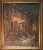 Walthère Joseph NEUHOF (1904-1984) großes Ölgemälde Nächtliche Gasse