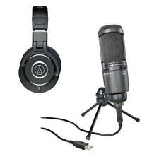 Audio Technica At2020Usb Plus Cardioid Condenser + Monitor Headphones Ath-M40x