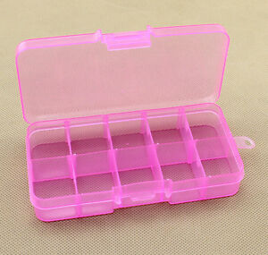 10 Holes Jewelry Storage Case Craft Organizer Beads Nail Plastic Box 6 Colors