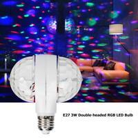 E27 6W Double-Headed RGB LED Ball Stage Light Bulb Rotating Lamp KTV Party Disco