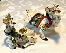 Rare! Blue Sky Clayworks Reindeer Candle Holders Signed by Heather Goldminc