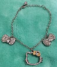 NEW Sanrio Hello Kitty Jewelry Bracelet Diecut Face Bows with Rhinestones Case