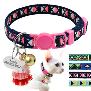 Personalised Cat Embroidered Collar with Bell Tassel Adjustable for Puppy Kitten