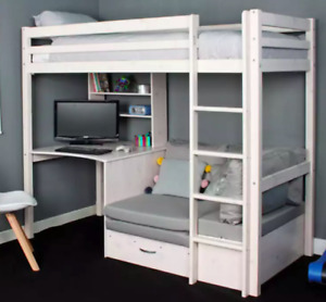 Child's wooden bunkbed with pull-out sofa bed and desk