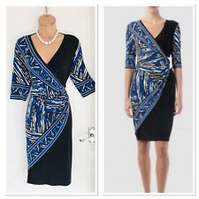 JOSEPH RIBKOFF Black Blue Mix Jersey Dress With Detail Waist And Faux Wrap Uk 14