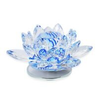 Home Table Room Decor Blue Rotatable Crystal Lotus Flower Figurine Gift