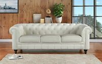 Classic Scroll Arm Real Leather Chesterfield Sofa (Off-White)