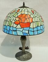 Antique/Vtg Signed Tiffany Style Leaded Stained Glass Bamboo Flower Table Lamp