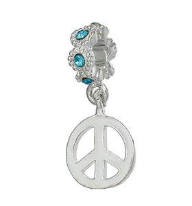Blue Rhinestone March Birthstone Peace Sign Dangle Charm fits European Bracelets