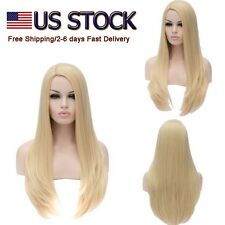 US STOCK 27inch Long Straight Pale Gold Wig Womens Hair Heat Resistant Full Wigs