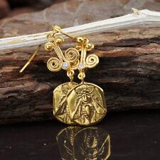 925 Sterling Silver Bee Coin Ancient Art Hook Earrings Fine Jewelry By Omer