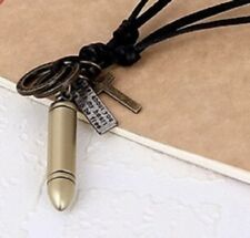 Real Leather Bronze Metal Bullet Cross Dog Tag Charm Pendant Necklace Chain UK