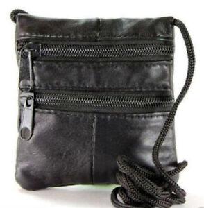 Soft Black Leather Neck Bag Purse Cross Shoulder Travel Money Pouch Security