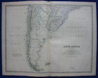 SOUTH AMERICA, ARGENTINA, PATAGONIA, CHILE, original antique map, Johnston, 1871