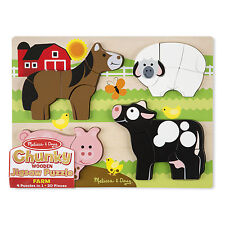 Melissa & Doug Chunky Wooden Jigsaw Puzzle - 20 Pieces 4 in 1 Puzzles
