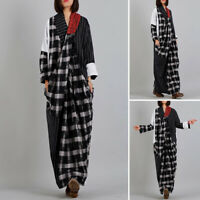 ZANZEA Womens Long Sleeve V Neck Casual Loose Kaftan Baggy Maxi Check Dress Plus
