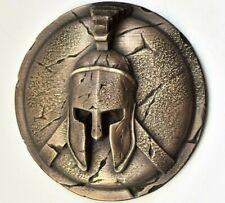 Spartan greek helmet and shield bronze sculpture wall art home decor gift