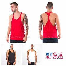 Men Bodybuilding Tank Top Muscle T-Shirt Racerback Gym Fitness Made in USA Black