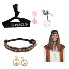 Unisex Hippie Kit Headband Round Glasses & Peace Medallion Fancy Dress Kit