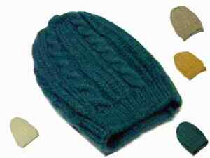 Berretto lana mohair treccia lungo vari mod donna ocra verde bianco beige petrol