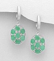 """1.4"""" Solid Sterling Silver Green Emerald Dangle Earrings 6.3g FEMININE BEAUTY"""