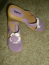 Born Lavendar Platform Wedge Leather Sandal 7 w/Flower  Slip On Comfort Heel