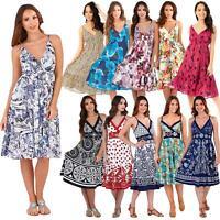 Ladies Pistachio/Matildo Cross V-Neck Knee Length Summer Dresses Strappy Dress