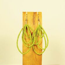 "3"" Long Apple Green Teardrop Multi Hoop Handmade Seed Bead Dangle Earrings"