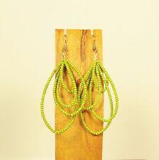 "3"" Long Apple Green Teardrop Multi Hoop Handmade Seed Bead Dangle Earrings"