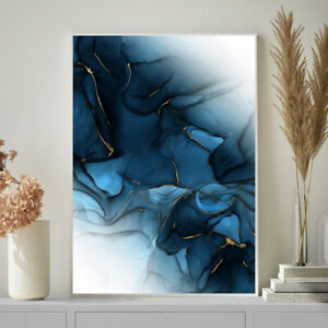 Navy Blue & Gold Wall Art Decor Abstract Watercolour Painting Print A4 A3 A2 A1