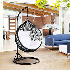 Black Rattan Wicker Garden Hanging 150kg Egg Chair Swing Cushion Seat Hammock