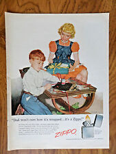 1956 ZIPPO Lighter Ad Dad Won't Care how it's Wrapped It's a Zippo Father's Day