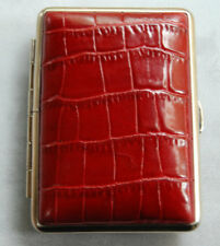 Red Crocodile Leather Pocket Cigarette / Personal Case Made in Germany