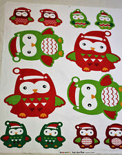 Fabric Panel Christmas Owl Family Soft Toys Quilting Cotton Material Baby Kids