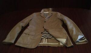 New Linen & Cotton Blazer Washed Camel Beige Single Breasted Jacket Men's S M