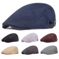 Unisex Casual Breathable Mesh Beret Hat Cap Newsboy Style Adjustable Flat Cap
