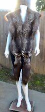 """Luxury Real Black Silver Fox Fur 104"""" L VNTG Stole Boa Shawl Wrap Shrug w/Tails"""