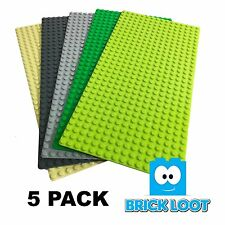 "5 Pack Lot AAA+ Baseplates 16x32 Dots / Studs 5"" X 10"" Base Plates fits LEGO"
