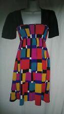 Urban Renewal Smocked Dress Size L large Multicolored Geometric Empire Waist USA