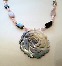 Lee Sands Mother of Pearl MOP Carved Shell Rose Pendant Necklace Boxed - NEW