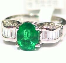 Vintage 14K Gold Natural Emerald White Diamond 3.12CT Fine Engagement Ring Deco