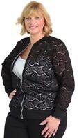Plus Size Womens Ladies Lightweight Curve Floral Black Lace Bomber Jacket 14-28