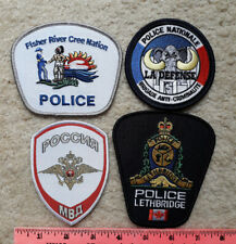 4 Foreign Police Patches : France, Russia & Canada, incl. Fisher River Cree Nat.